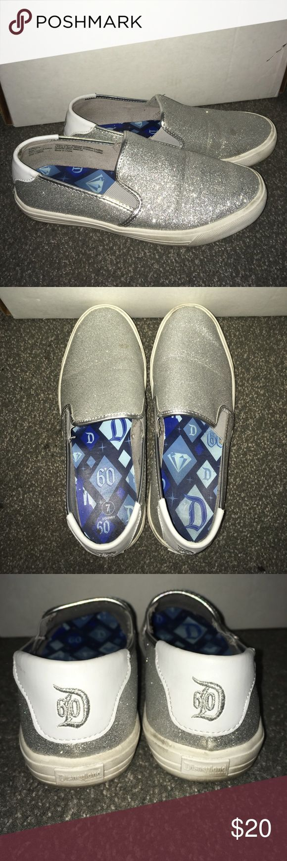 Disneyland 60th Silver Glitter shoes Silver Glitter Slip on shoes from Disneyland during the 60th anniversary. Worn once, at Disneyland when my shoes broke. Disney Shoes Sneakers