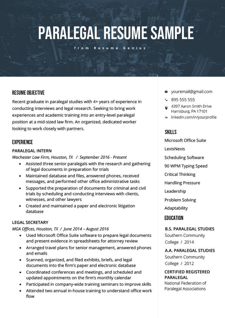 Paralegal Resume Sample & Writing Guide Resume Genius