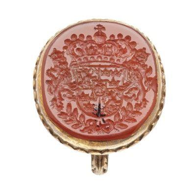 Signetring, som tillhört drottning Kristina av Sverige (1626-1689), ca1650. I guld och karneol.