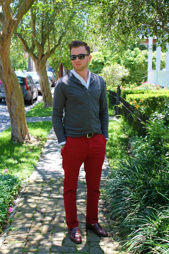 Men 39 s dressed up henley with red pants my style for New orleans street style