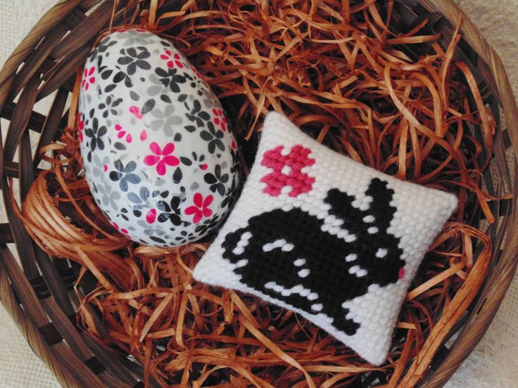Easter Bunny and Egg Set of Two, Needlepoint Black Rabbit Mini Pillow with Decoupage Egg, Needle Art Bunny, Easter Egg, Basket Fillers by BunniesMadeOfBread on Etsy