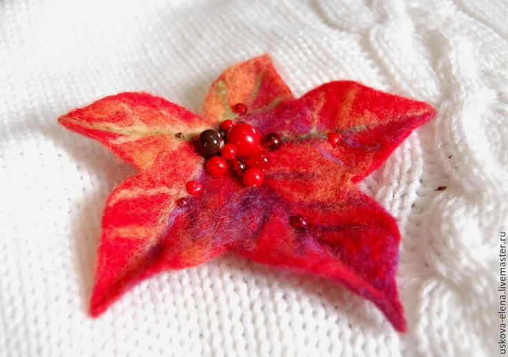 Купить Брошь Красный Клён - ярко-красный, листья, листопад, листва, красный, красный цвет