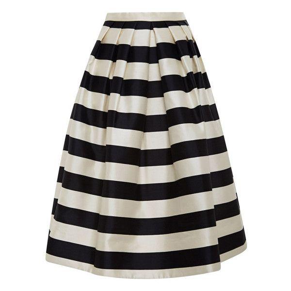 Tibi Striped Silk-Satin Midi Skirt found on Polyvore