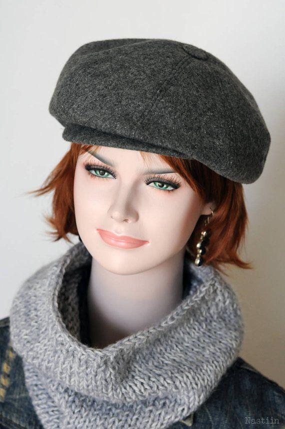 Gray newsboy cap Womens newsboy hat Peaky Blinders hat Autumn hat women  Baker boy hat Unisex newsie 5d941e1af122