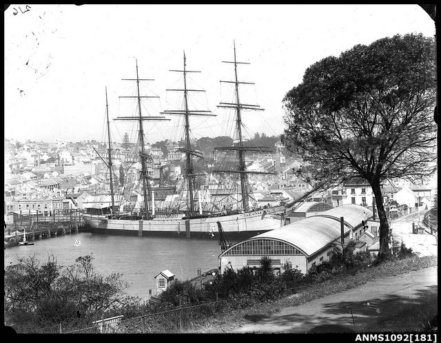 LORD RIPON moored at Woolloomooloo Bay The Lord Ripon was a four-masted steel barque, bilt 1892 by Grangemouth Dockyard Co., Alloa for J. Herron & Co., Liverpool. She sold 1898 to Rhederei Visurgis AG, Bremen, and was renamed Nal. In 1922 the Nal sprang a leak and was abandoned off Cape Horn and sunk near Wollaton Island. The crew was saved.