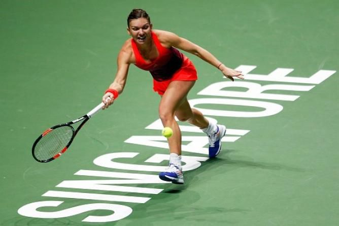 Halep in action during the WTA Finals in Singapore
