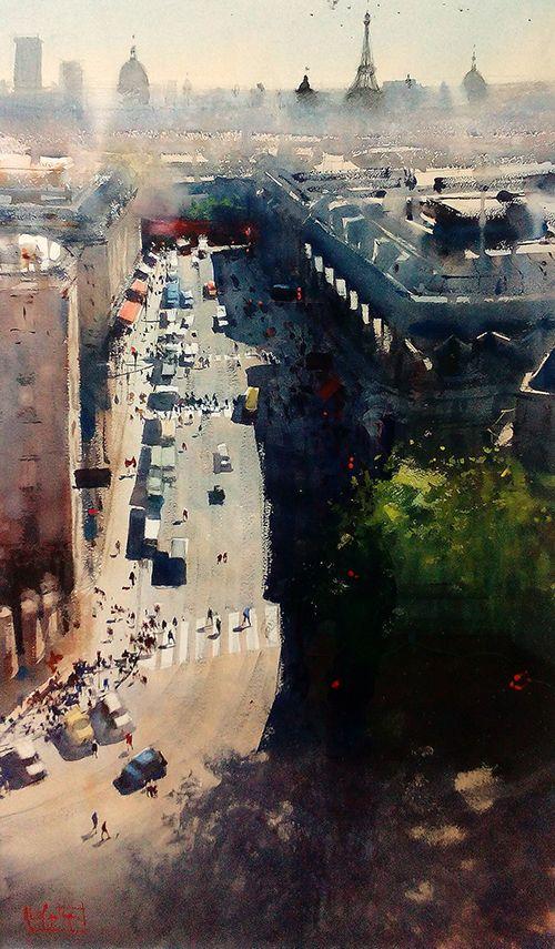 París Álvaro Castagnet  #alvarocastagnet #acuarela #watercolor #galeriadeartetrinotortosa #ventadearte www.trinotortosa.com