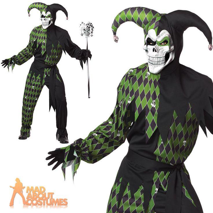 Evil Jester Costume Adult Jokes On You Mens Medieval Clown Halloween Fancy Dress