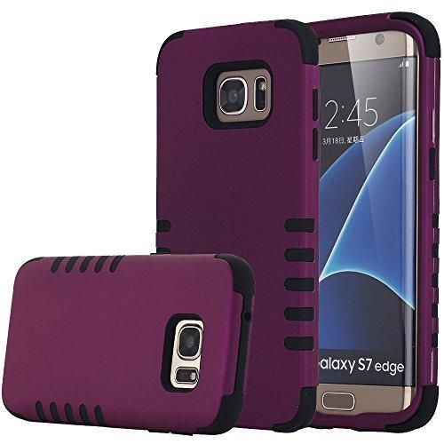 Galaxy S7 Edge Case MCUK [Scratch Resistant] [Shock Absorption] 3 in 1 High Impact Hybrid Armor Defender Silicone Rubber Skin Hard Case Cover For Samsung Galaxy S7 Edge (Purple Black)