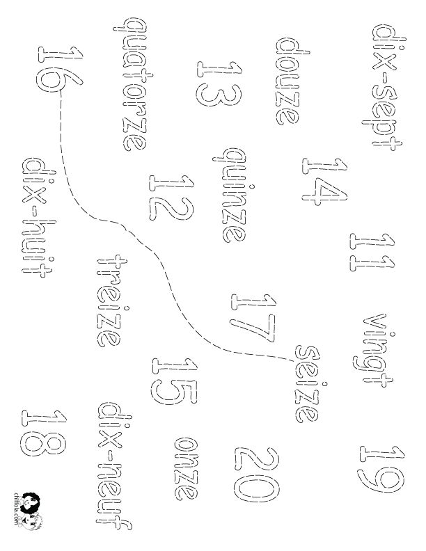 number worksheets french