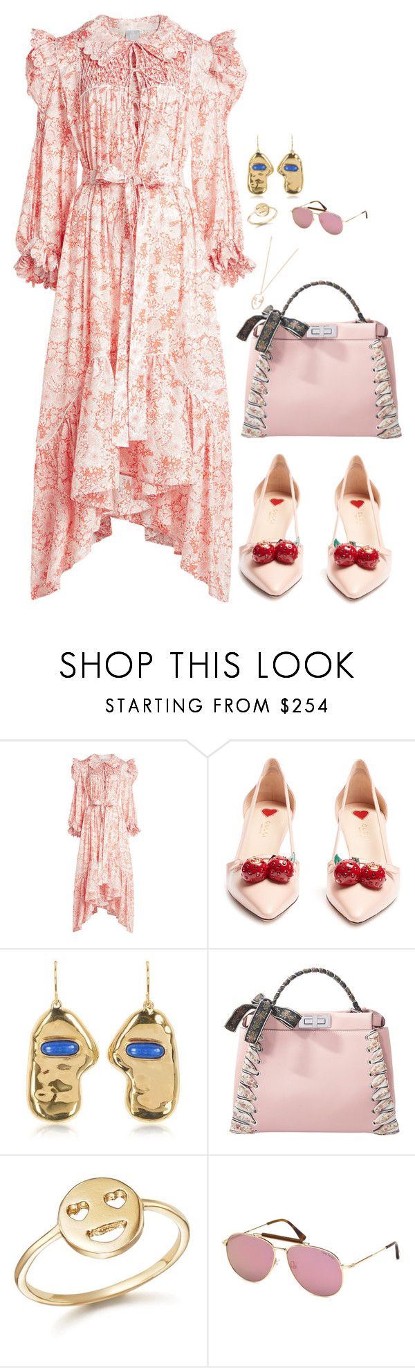 """""""Pink love"""" by beakpettersen ❤ liked on Polyvore featuring Horror Vacui, Gucci, Aurélie Bidermann, Fendi, Bing Bang, Tom Ford, Amber Sceats and Pink"""