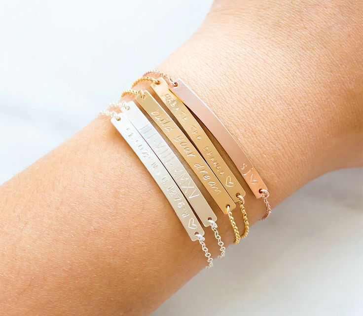 Gold Bar Bracelet, Engraved Bracelet, Name Plate, Bridesmaid Jewelry, Rose Gold Filled, Sterling Silver Bar Bracelet by BlushesAndGold on Etsy https://www.etsy.com/listing/252605249/gold-bar-bracelet-engraved-bracelet-name