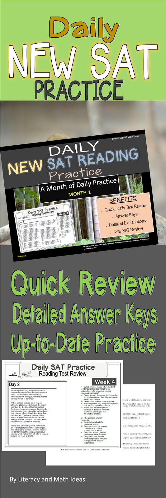 Daily new sat reading practice bundle month 1