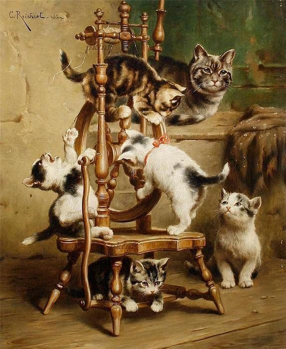 Chatons jouant sur un rouet de Carl Reichert (1836-1918, Germany)