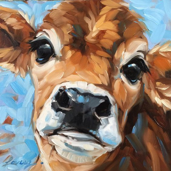 Bright Eyes Cow painting, 6x6 inch original impressionistic oil painting of a sweet cow.  Professional fine art board is 1/8 thick. These small