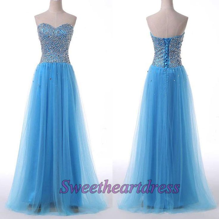 Elegant ice blue tulle strapless long prom dress with rhinestones on top, evening dress, prom dress 2016 #coniefox #2016prom