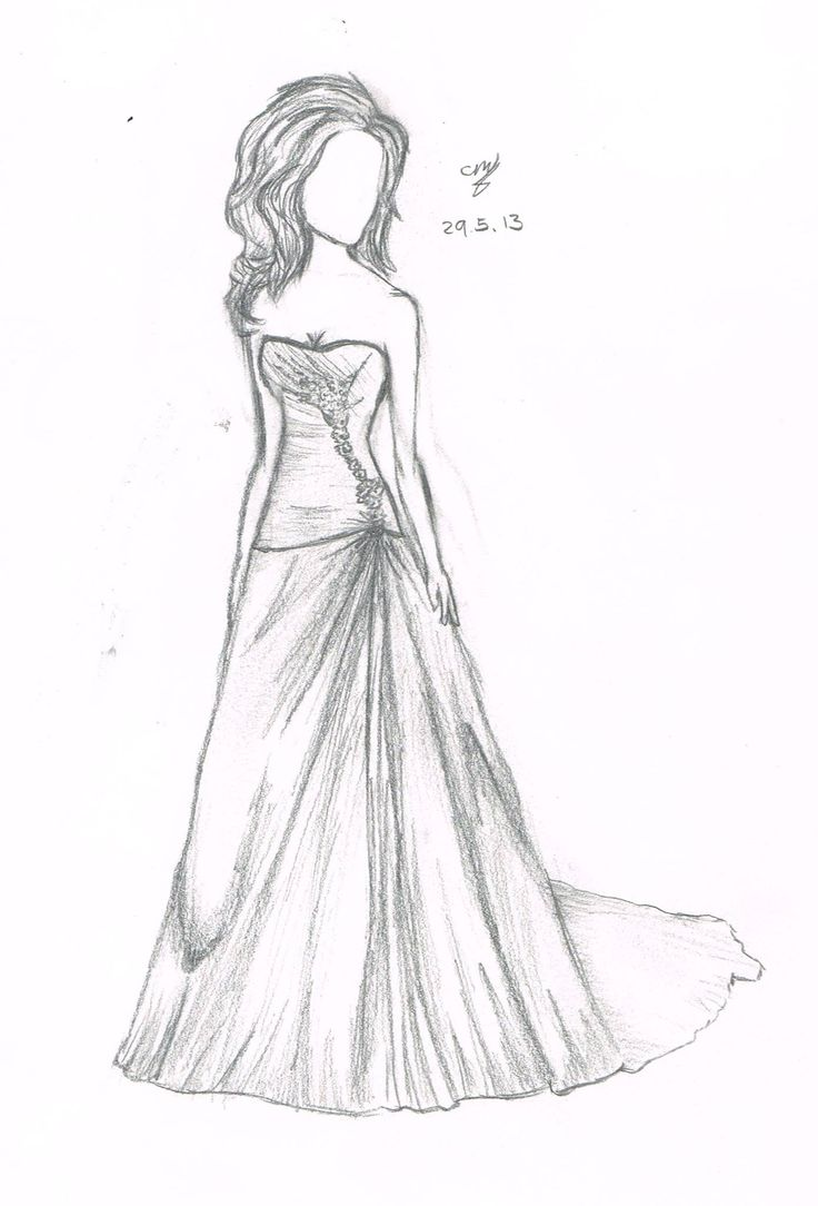 Pencil Drawing Easy How To Draw A Girl In A Dress Novocom Top