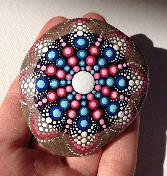 Mandala Henna Art Painted Stone Adriatic by CreateAndCherish