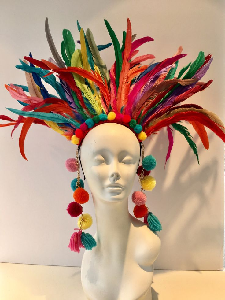 Pom pom headpiece- Feather Headdress -Carnival- Tribal -Music Festival- Burner Head piece- Pride- Rainbow Headpiece- Headdress NY. by doramarra on Etsy https://www.etsy.com/au/listing/495635798/pom-pom-headpiece-feather-headdress