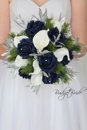 Navy Silver And White Wedding Flowers Real Touch Calla Lilies Marine