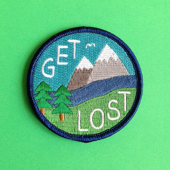 Get Lost Embroidered Patch, Funny Iron On Patch, Explore Patch, Mountain Patch…