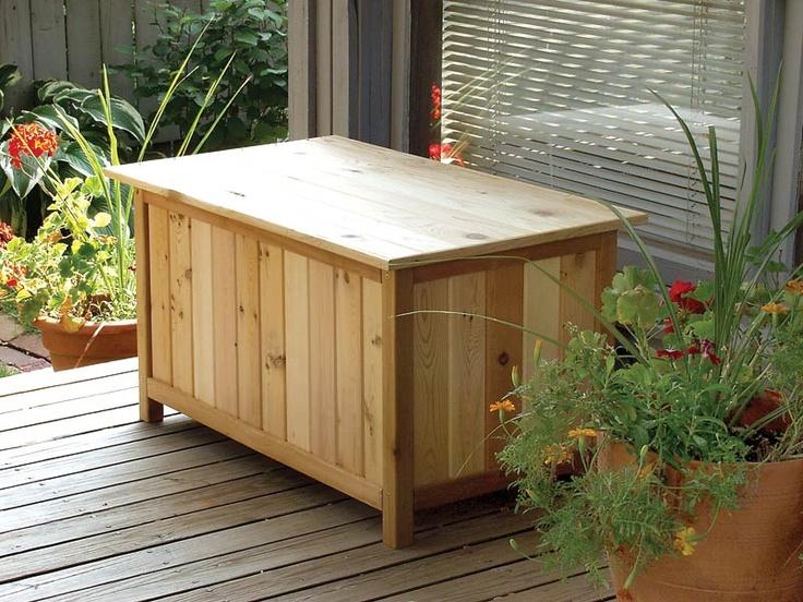 Outdoor Cedar Storage Bench   Garden