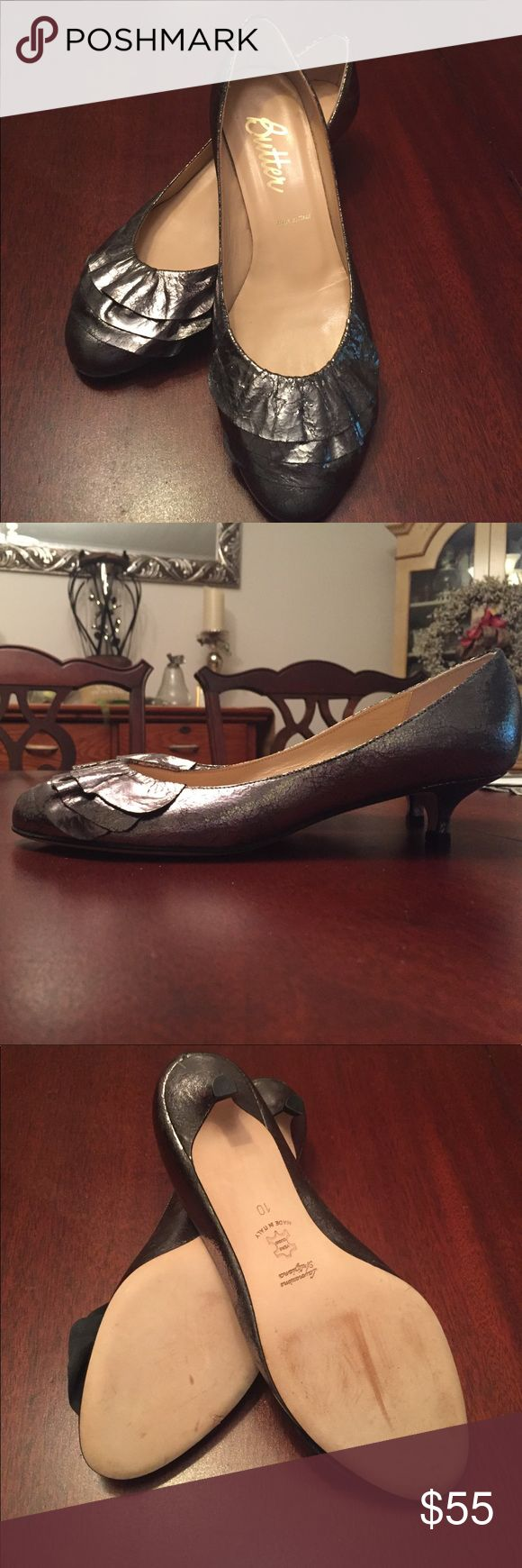 Butter distressed metallic heel. Never worn! Beautiful metallic heel by Butter! Never worn! Marks on sole are strictly from being moved around the closet! Heel is 1/2 inch Butter Shoes Shoes Heels