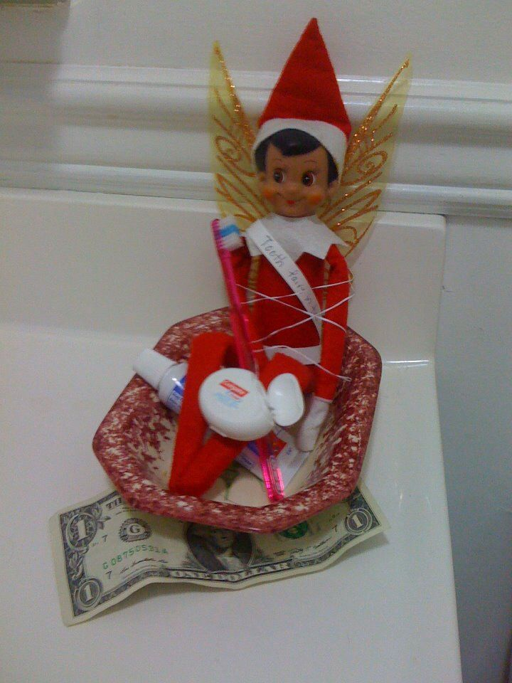 "Elf on the shelf becomes the tooth fairy. (My daughter lost a tooth). His sash says ""tooth fairy in training"""