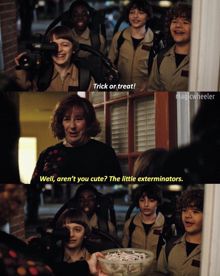 Notice how they all look mad that they were called exterminators, except Dustin, because he's like, yay candy!