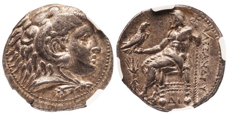Alexander III, the Great, 336-323 BC. Silver AR tetradrachm,  17.17 g., 27 mm., early posthumous minted at Memphis, Egypt, ca. 323-316 BC. Obv. Head of young Herakles wearing the lion skin right. Rev. ΑΛΕΞΑΝΔΡΟΥ, Zeus enthroned left, thunderbolt in left field, DI below throne.