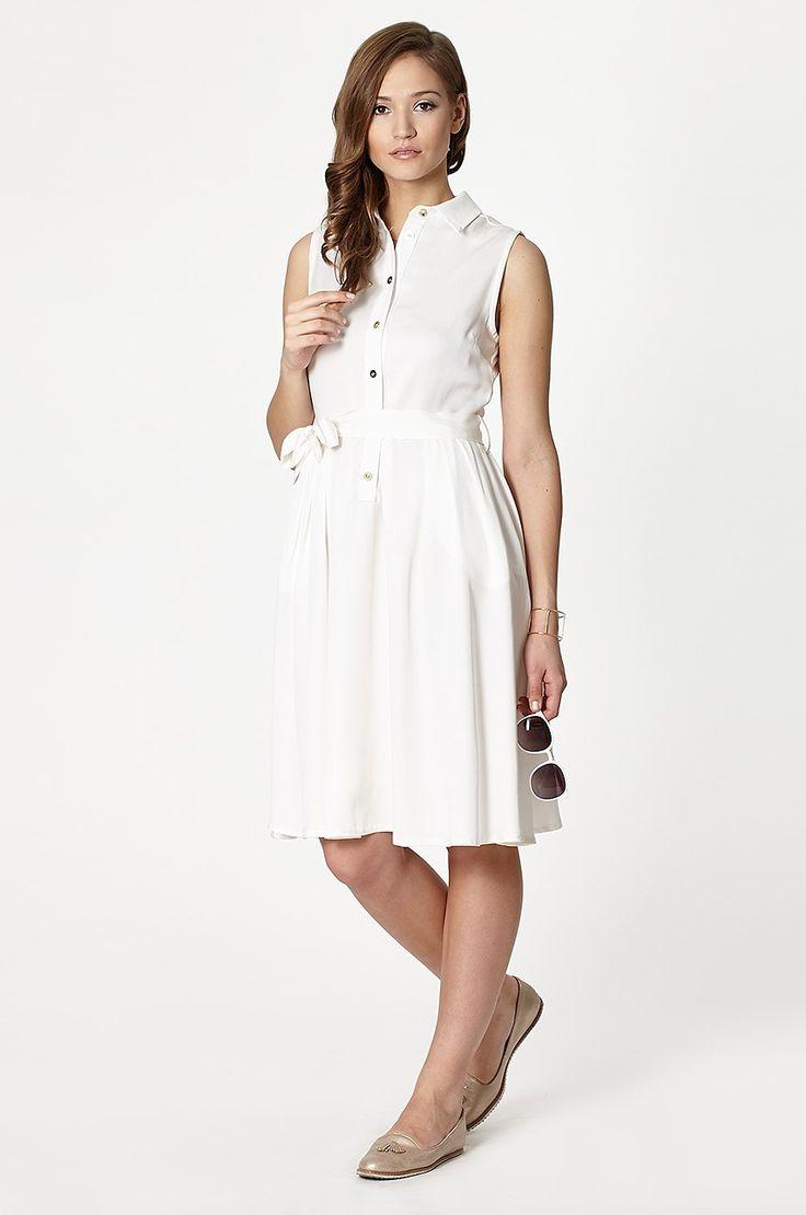 Click Fashion - Sukienka szmizjerka biała Parla