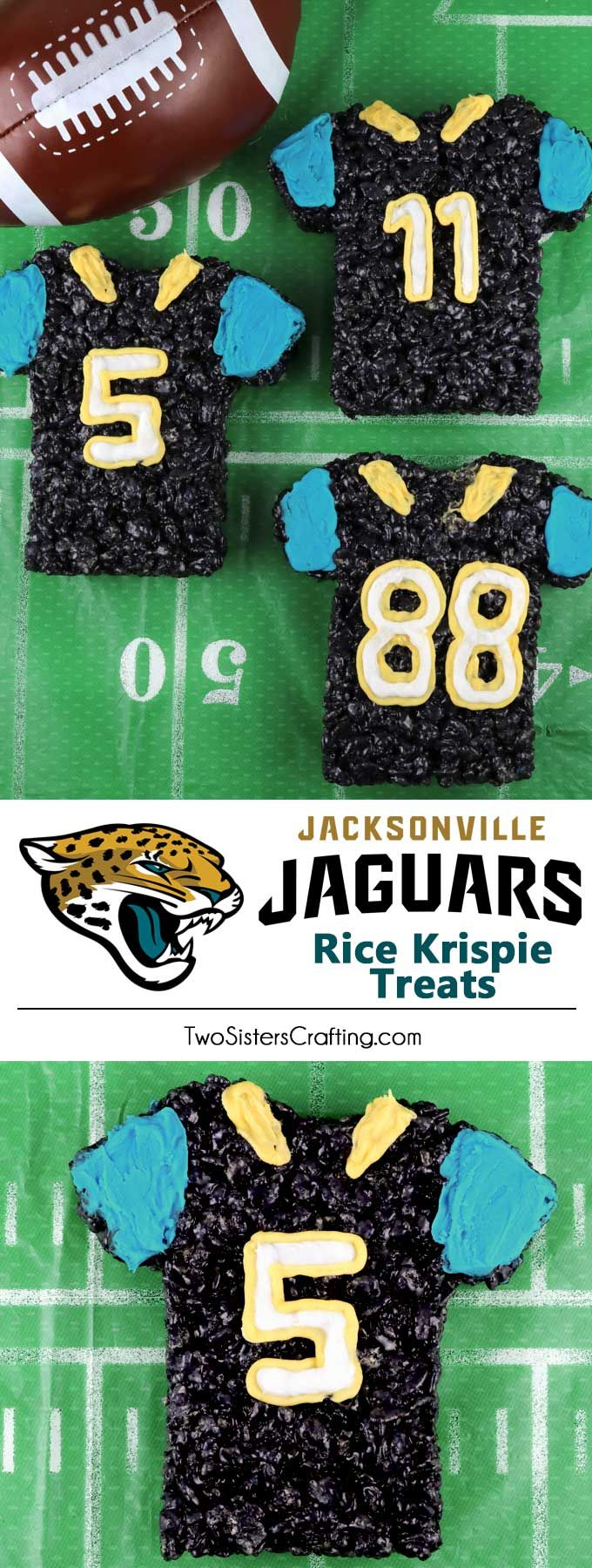 These Jacksonville Jaguars Rice Krispie Treats Team Jerseys are a fun football dessert for a game day football party, an NFL playoff party, a Super Bowl party or as a special snack for the Jacksonville Jaguars fans in your life. Go Jaguars! And follow us for more fun Super Bowl Food Ideas. #jaguars #jacksonvillejaguars #superbowlfood #gamedayfood #superbowl
