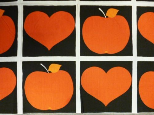 Tampella Finland: Retro Vintage Fabric - 60's - Hearts and Apples