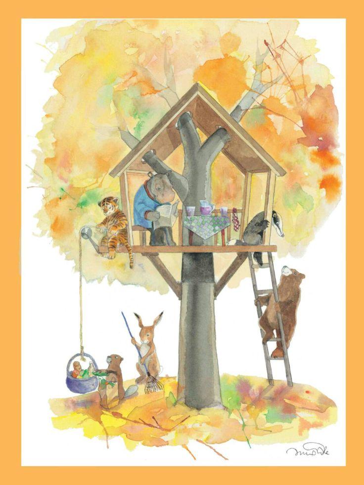 Autunno arte stampa animale illustrazione Nursery Decor vivaio