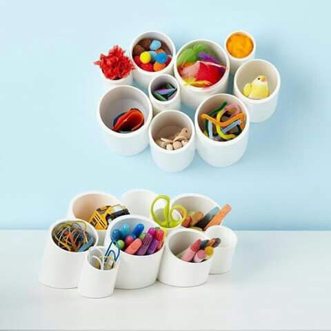 Pen holders made of pvc pipes.