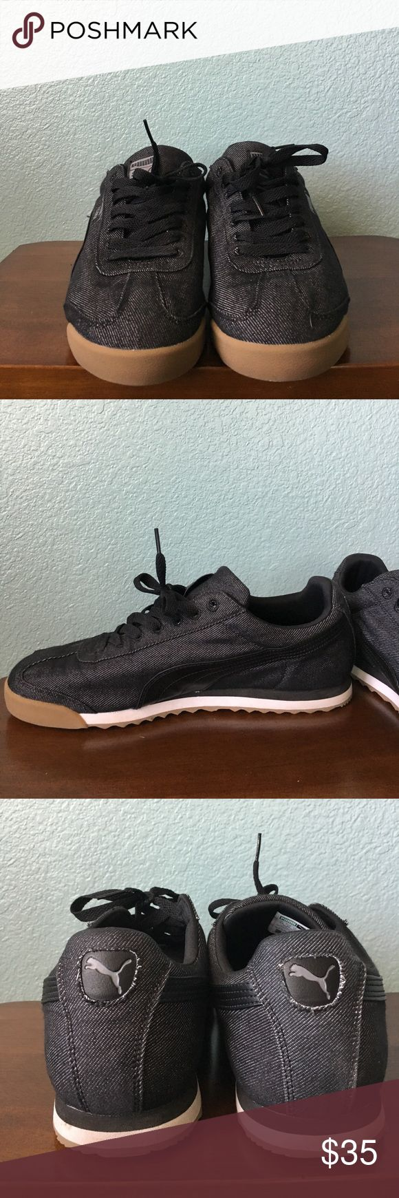 Puma Roma Men's Black Puma Athletic sneaker. Worn a few times. Still like new. Selling new online for $40. Price is firm. Puma Shoes Sneakers