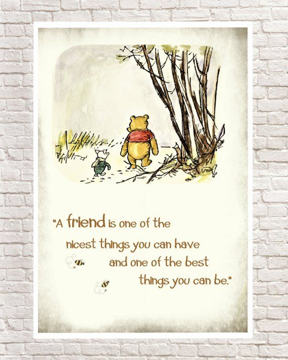 Winnie the Pooh Print, Classic Pooh, Pooh Wall Art, Pooh Art Prints, Piglet, Piglet Quotes, Pooh Nursery Art. Birthday Gift, Christmas Gift