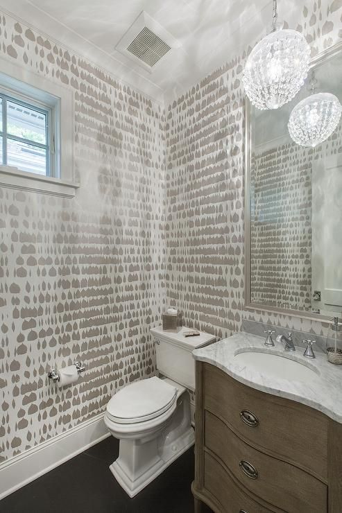 Queen of Spain Wallpaper and Restoration Hardware Empire Rosette Powder  Room Vanity Sink. 17 Best ideas about Silver Wallpaper on Pinterest   White