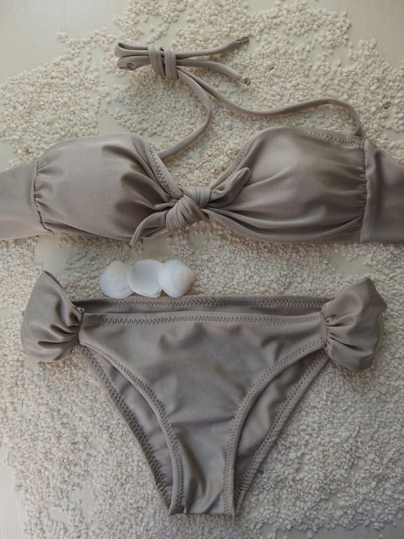 Patrice Handmade beige bandeau bikini. Top and bottom are sold as separates.