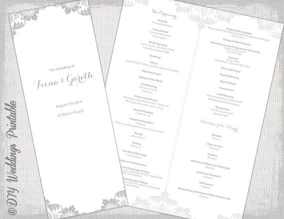 "Printable Catholic program template Gray ""Antique Lace"" DIY order of ceremony booklet Lace wedding program templates Word digital download"