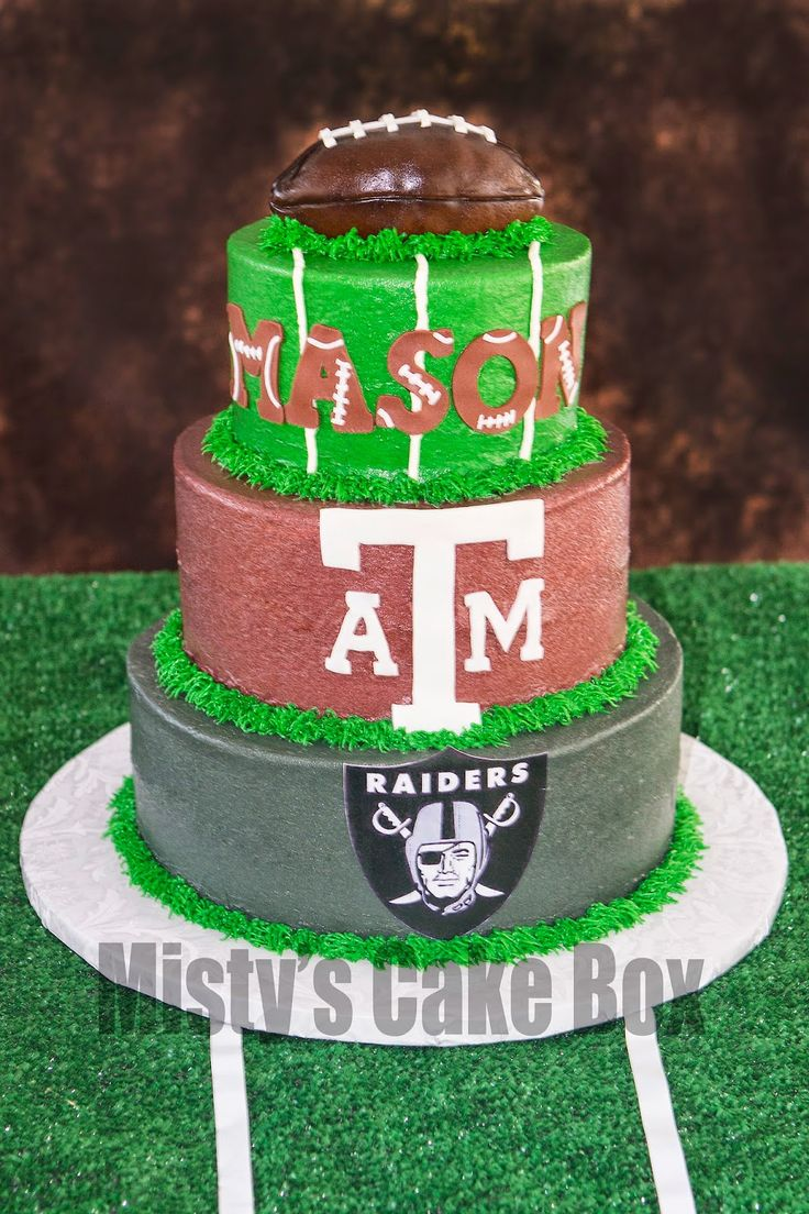 Football themed birthday party cake Raiders Aggies