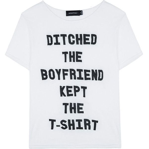 Mink Pink Ditch The Boyfriend Tee White (€48) ❤ liked on Polyvore featuring tops, t-shirts, shirts, tees, pattern t shirt, leather t shirt, crew neck t shirt, white boyfriend shirt and white crew neck shirt