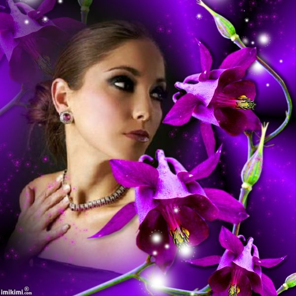 purple orchid-lissy005  Click to replace her photo with yours! This is a photo montage from www.imikimi.com, a free photo editor/collage maker.  #purple #orchid #photo #model