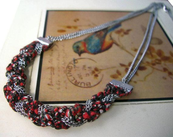 Spicy Black & white crimson red spotted silver braided