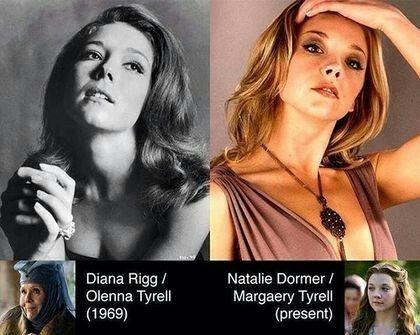 Interpretan a abuela y nieta en la exitosa serie de HBO Juego de tronos, pero ¿te habías fijado en el increíble parecido entre las actrices que encarnan a Olenna y Margaery Tyrell en la ficción?  Aunque hay más de 40 años de diferencia de edad entre ellas, la actriz británica Diana Rigg tenía un aspecto realmente parecido al de la también británica Natalie Dormer en la actualidad.Interpretan a abuela y nieta en la exitosa serie de HBO Juego de tronos, pero ¿te habías fijado en el increíble…