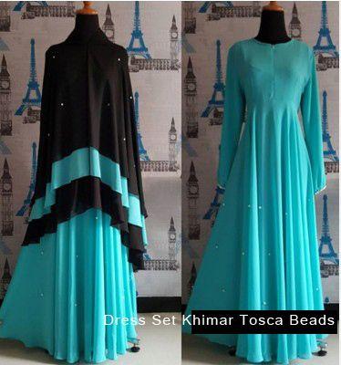 New Women's Long Jilbab Hijab Set Khimar Tosca Beads Islamic - Dresses