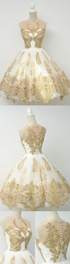 White Sheer Ball Gown Homecoming Dresses,Sleeveless Gold Lace Up Appliques Short Prom Dress HCD121 Short Prom Dresses, Homecoming Dresses, Prom Gowns, Party Dresses, Graduation Dresses, Short Prom Dresses, Gowns Prom, Cheap Prom Gowns on Line