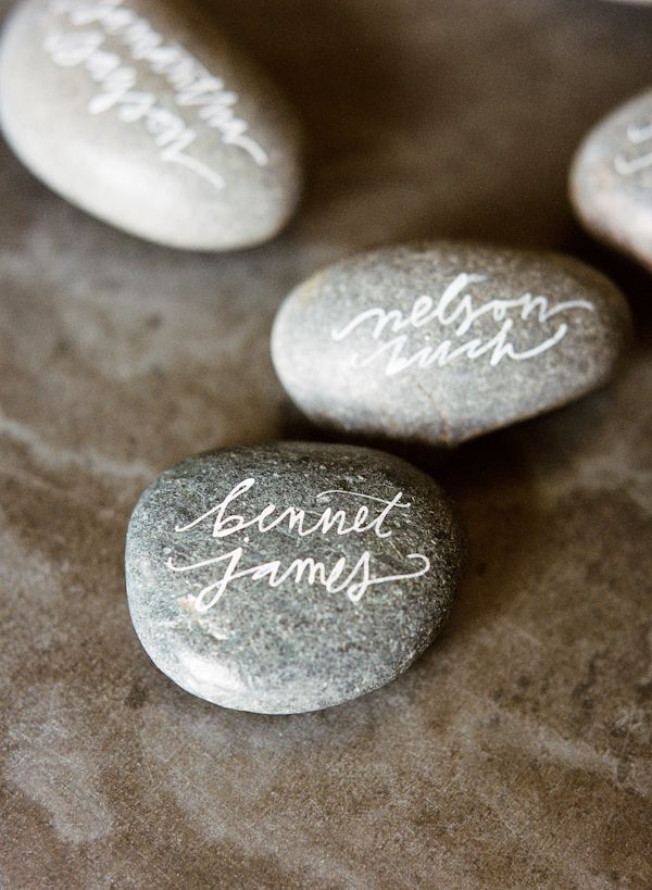 Calligraphy Rock DIY Place Card Holders  or favors/decorations with date or couples names.