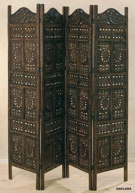 PARAVENT AUS MANGO-HOLZ 200 x 180cm IN BRAUN 3-TEILIG HANDARBEIT