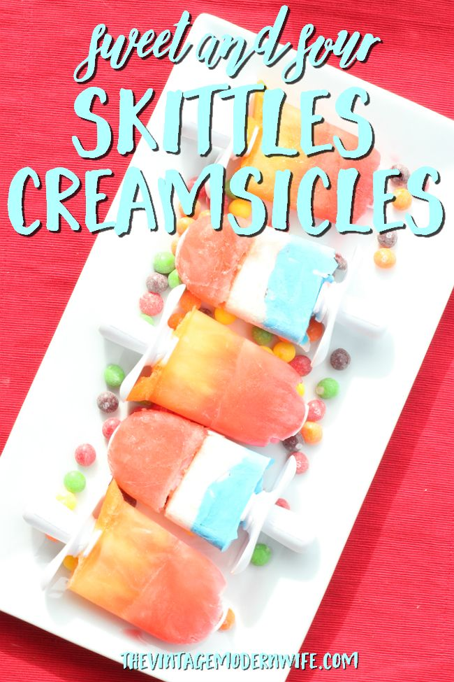 I'm in love with these Sweet and Sour Skittles Creamsicles. They're so delicious and so easy that the whole family can make them. Yum! #Buy2Get2 #ad